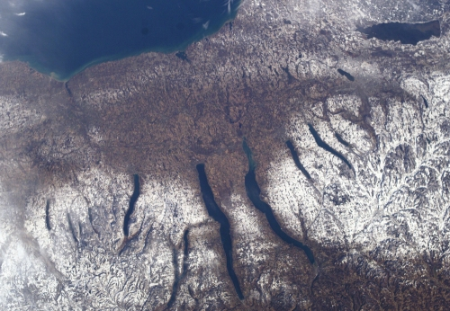 An aerial view of the Finger Lakes.