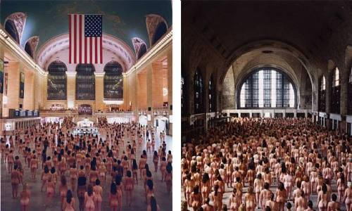 The photo on the right is one Tunick took in New York City's Grand Central Station. The two photographs displayed next to each other represent before and after in the restoration of historic terminals.